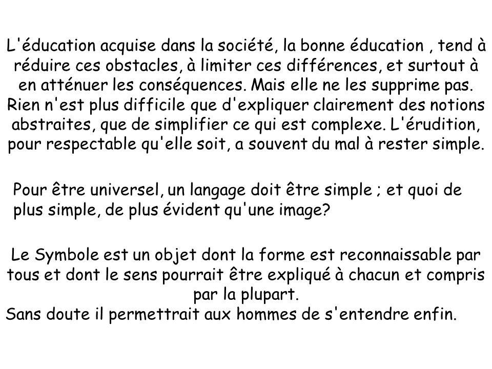 L éducation acquise dans la société, la bonne éducation , tend à réduire ces obstacles, à limiter ces différences, et surtout à en atténuer les conséquences. Mais elle ne les supprime pas.