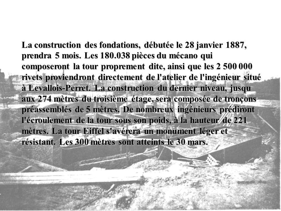 La construction des fondations, débutée le 28 janvier 1887, prendra 5 mois.