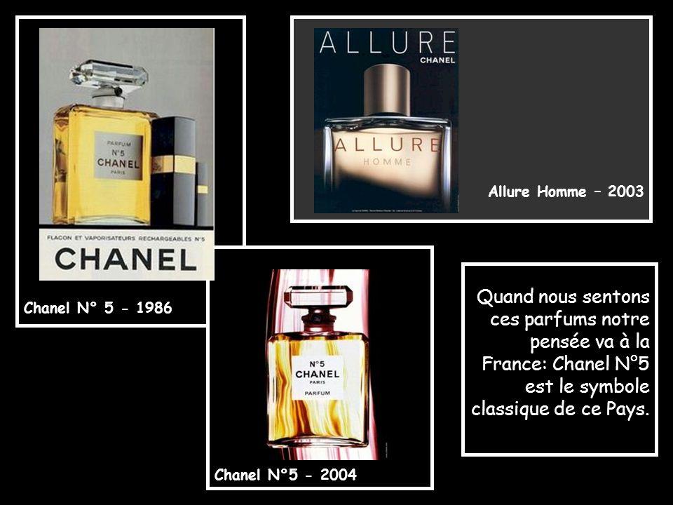Chanel N° 5 - 1986 Allure Homme – 2003. Chanel N°5 - 2004.