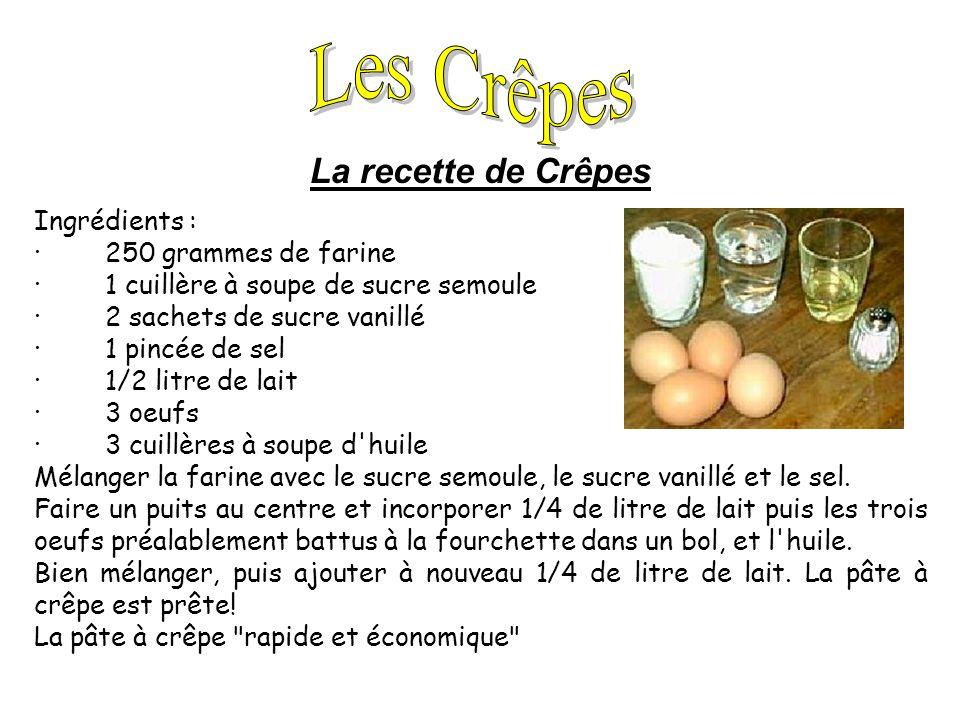 Les Crêpes La recette de Crêpes Ingrédients : · 250 grammes de farine