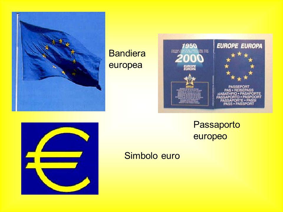Bandiera europea Passaporto europeo Simbolo euro