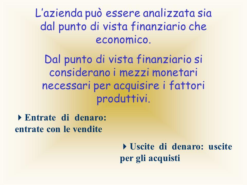 L'azienda può essere analizzata sia dal punto di vista finanziario che economico.
