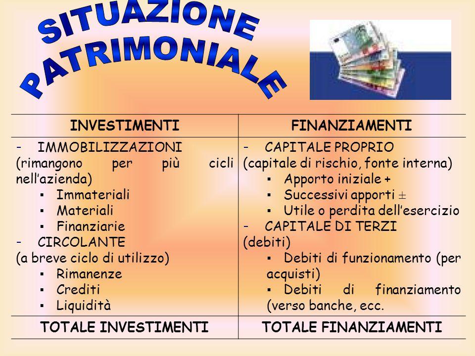 SITUAZIONE PATRIMONIALE INVESTIMENTI FINANZIAMENTI IMMOBILIZZAZIONI