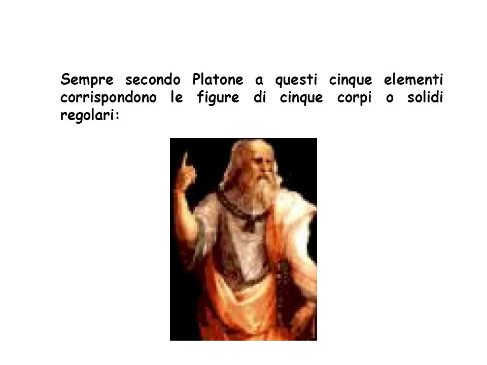 Sempre secondo Platone a questi cinque elementi corrispondono le figure di cinque corpi o solidi regolari: