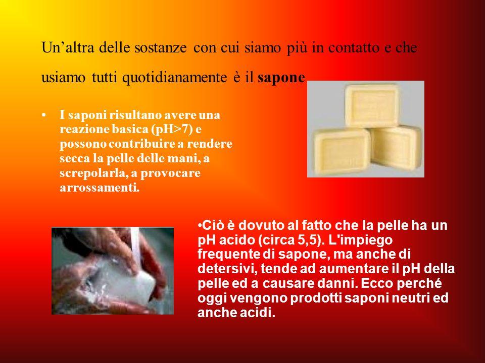 Un'altra delle sostanze con cui siamo più in contatto e che usiamo tutti quotidianamente è il sapone
