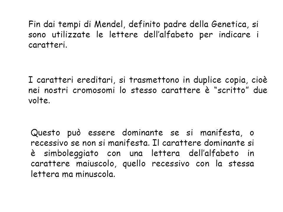 Fin dai tempi di Mendel, definito padre della Genetica, si sono utilizzate le lettere dell'alfabeto per indicare i caratteri.