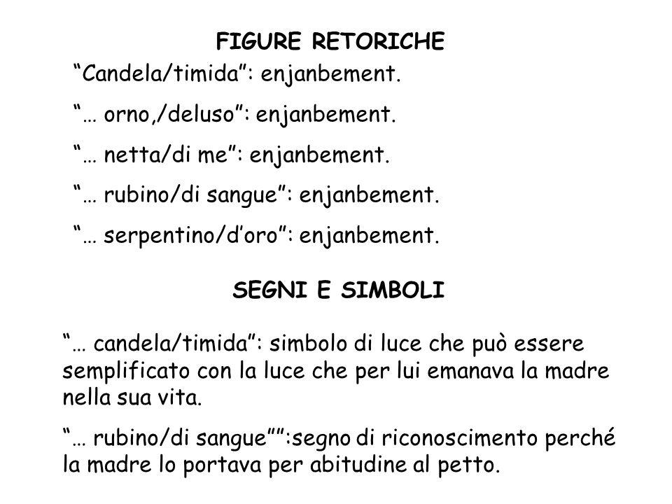 FIGURE RETORICHE Candela/timida : enjanbement. … orno,/deluso : enjanbement. … netta/di me : enjanbement.