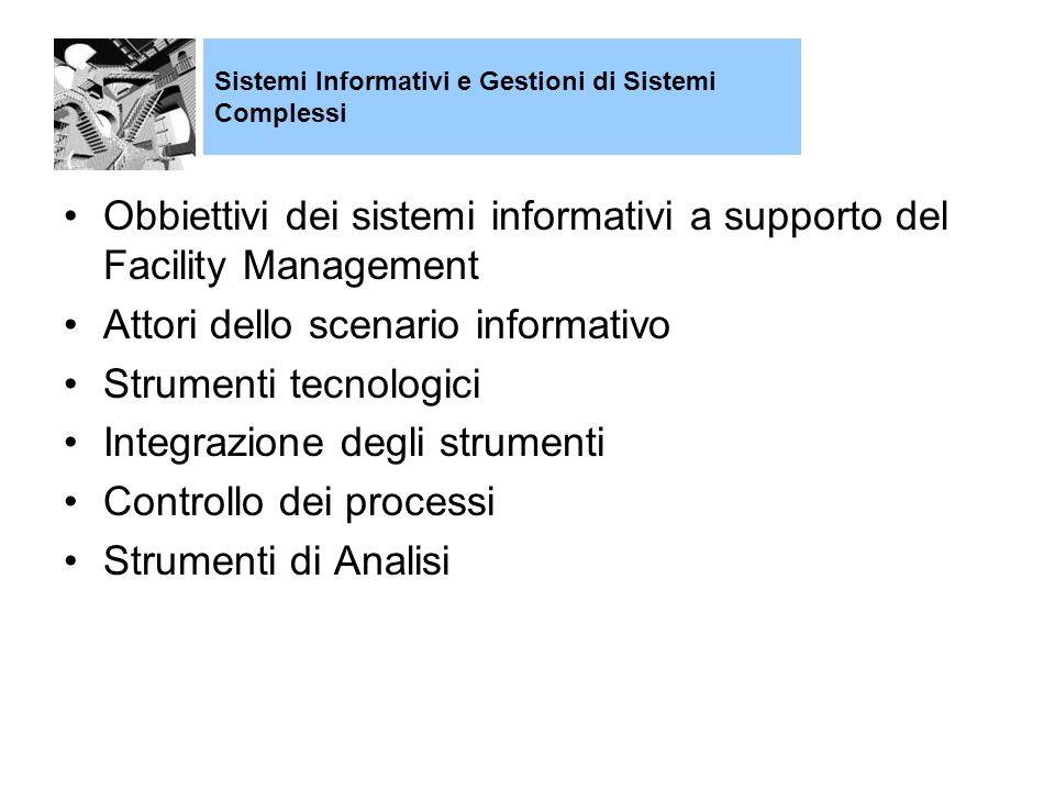 Obbiettivi dei sistemi informativi a supporto del Facility Management