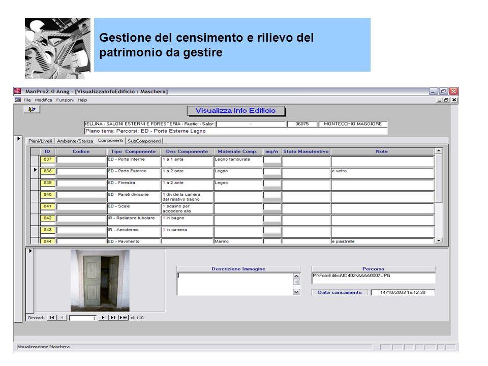 Gestione del censimento e rilievo del patrimonio da gestire