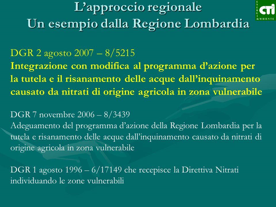 L'approccio regionale Un esempio dalla Regione Lombardia