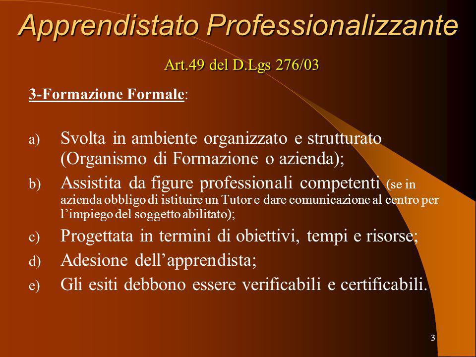 Apprendistato Professionalizzante Art.49 del D.Lgs 276/03