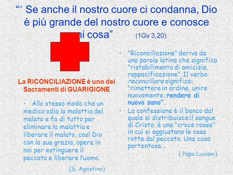 La RICONCILIAZIONE è uno dei Sacramenti di GUARIGIONE