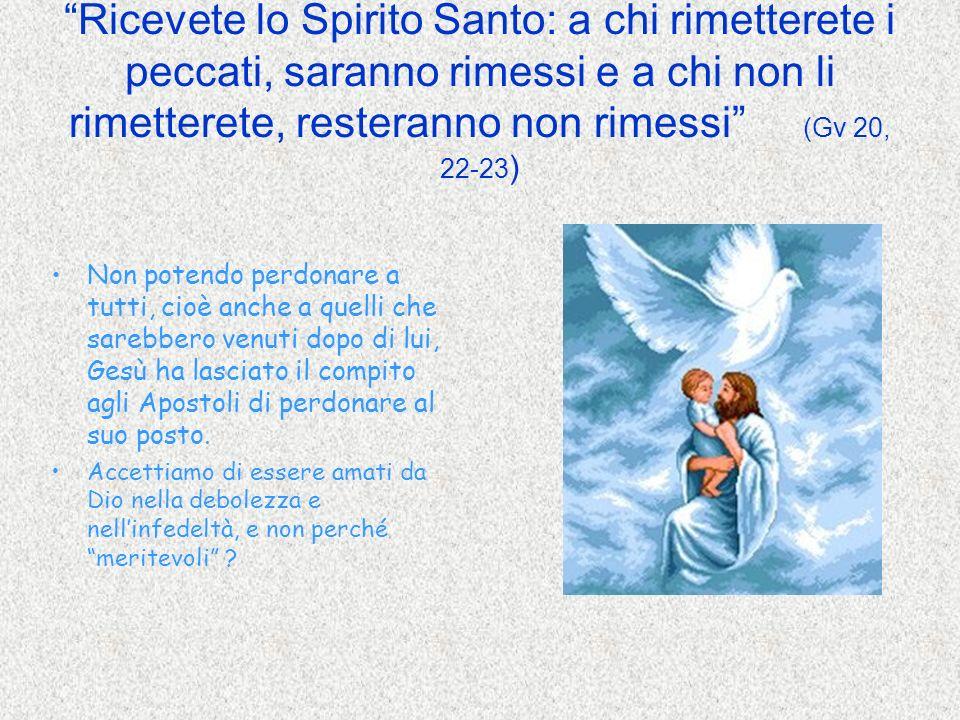 Ricevete lo Spirito Santo: a chi rimetterete i peccati, saranno rimessi e a chi non li rimetterete, resteranno non rimessi (Gv 20, 22-23)
