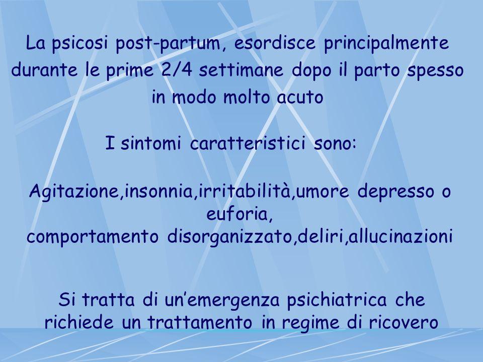 La psicosi post-partum, esordisce principalmente