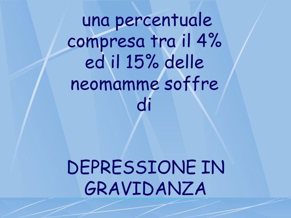 una percentuale compresa tra il 4% ed il 15% delle neomamme soffre di