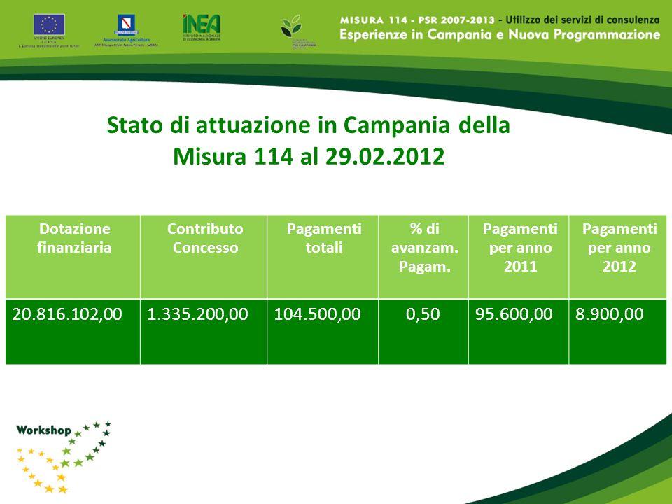 Stato di attuazione in Campania della Dotazione finanziaria
