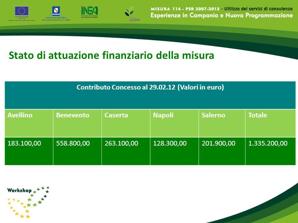 Contributo Concesso al 29.02.12 (Valori in euro)