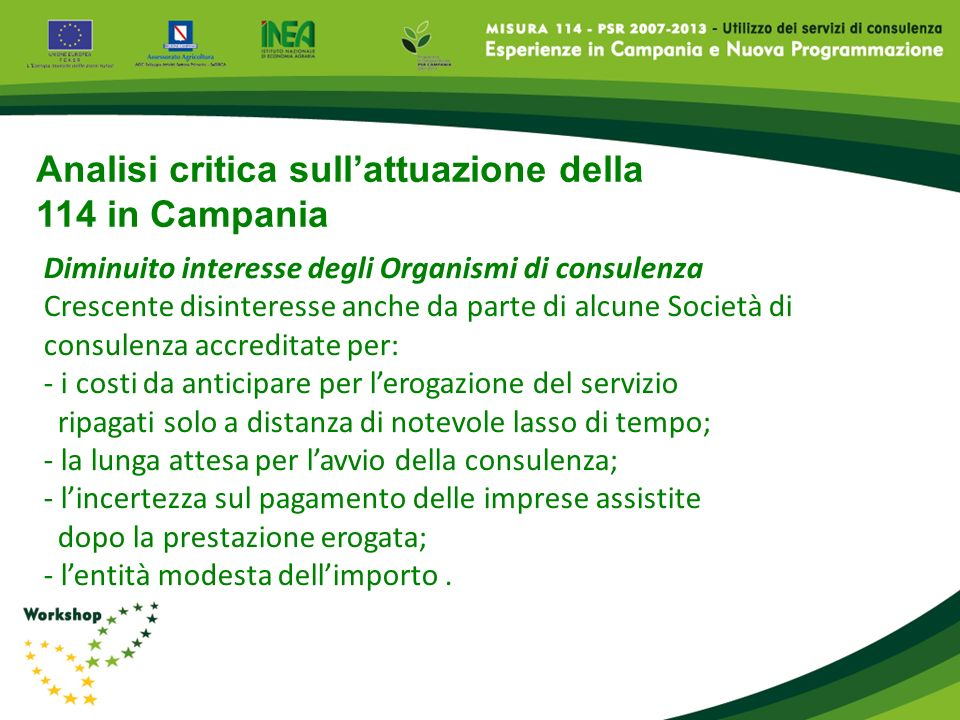 Analisi critica sull'attuazione della 114 in Campania