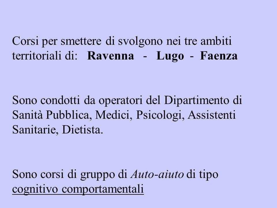 Corsi per smettere di svolgono nei tre ambiti territoriali di: Ravenna - Lugo - Faenza