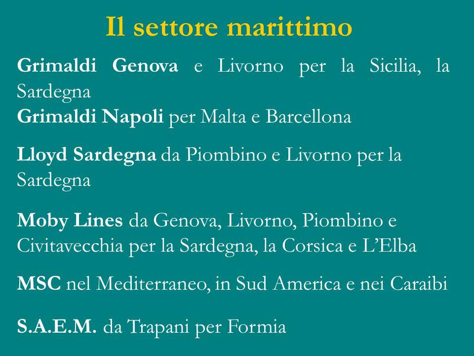 Il settore marittimo Grimaldi Genova e Livorno per la Sicilia, la Sardegna. Grimaldi Napoli per Malta e Barcellona.