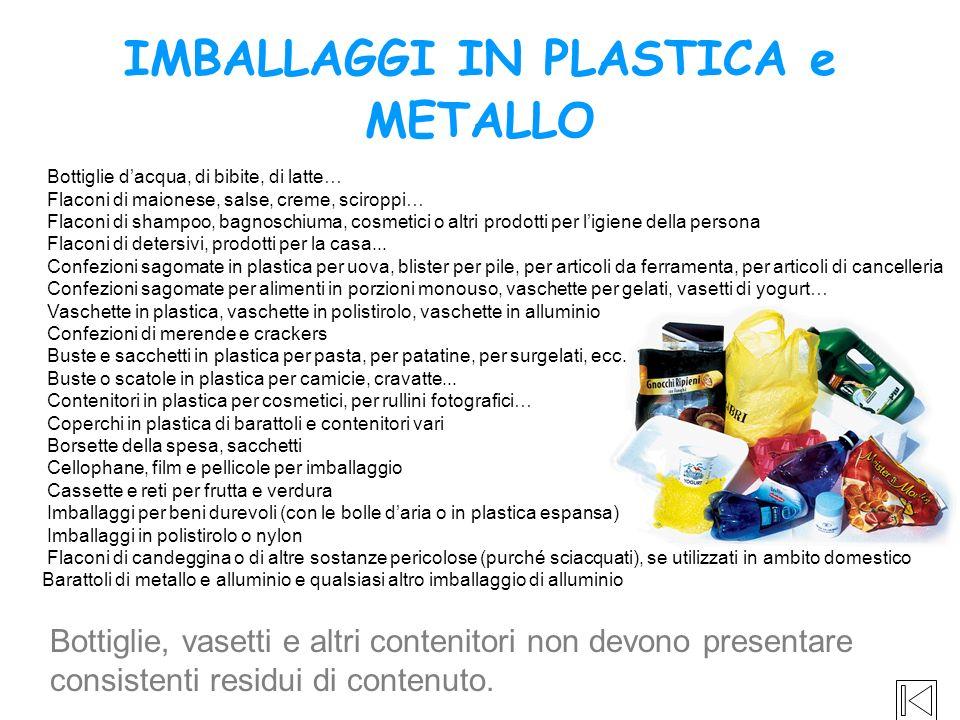IMBALLAGGI IN PLASTICA e METALLO