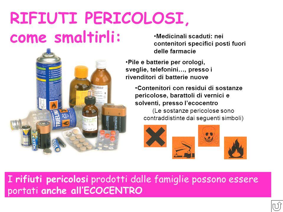 (Le sostanze pericolose sono contraddistinte dai seguenti simboli)