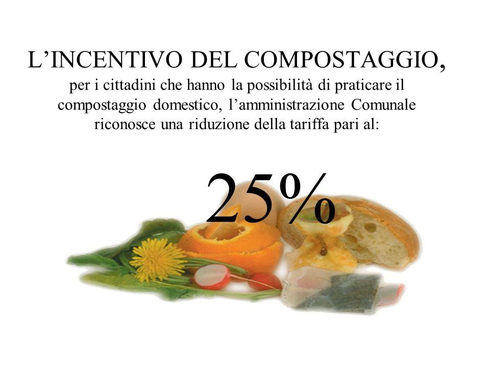 L'INCENTIVO DEL COMPOSTAGGIO, per i cittadini che hanno la possibilità di praticare il compostaggio domestico, l'amministrazione Comunale riconosce una riduzione della tariffa pari al: