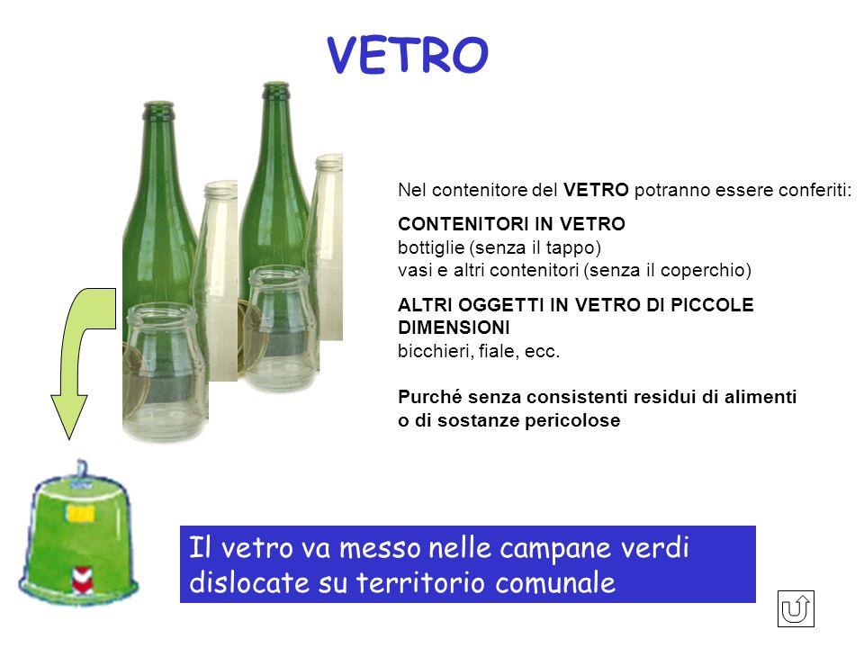 VETRONel contenitore del VETRO potranno essere conferiti:
