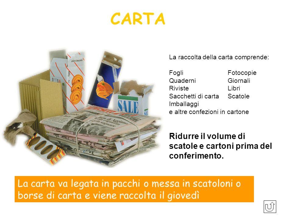 CARTA La raccolta della carta comprende: Fogli Fotocopie. Quaderni Giornali. Riviste Libri.