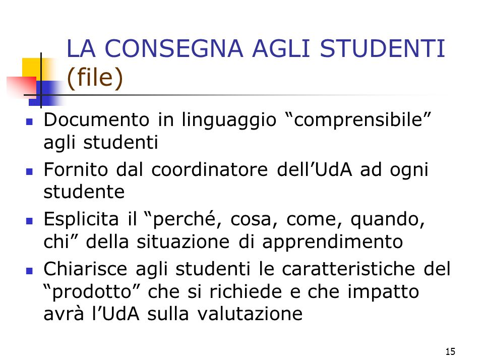 LA CONSEGNA AGLI STUDENTI (file)