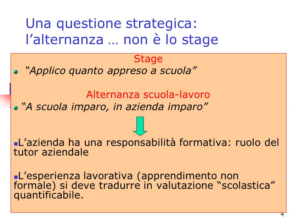 Una questione strategica: l'alternanza … non è lo stage