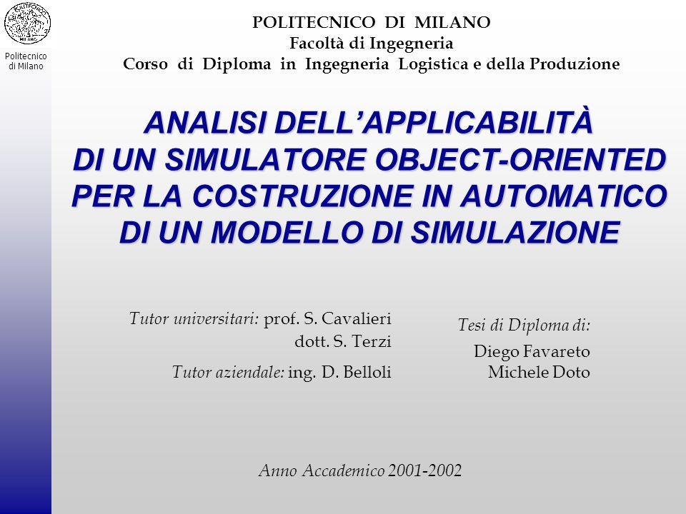 POLITECNICO DI MILANO Facoltà di Ingegneria Corso di Diploma in Ingegneria Logistica e della Produzione