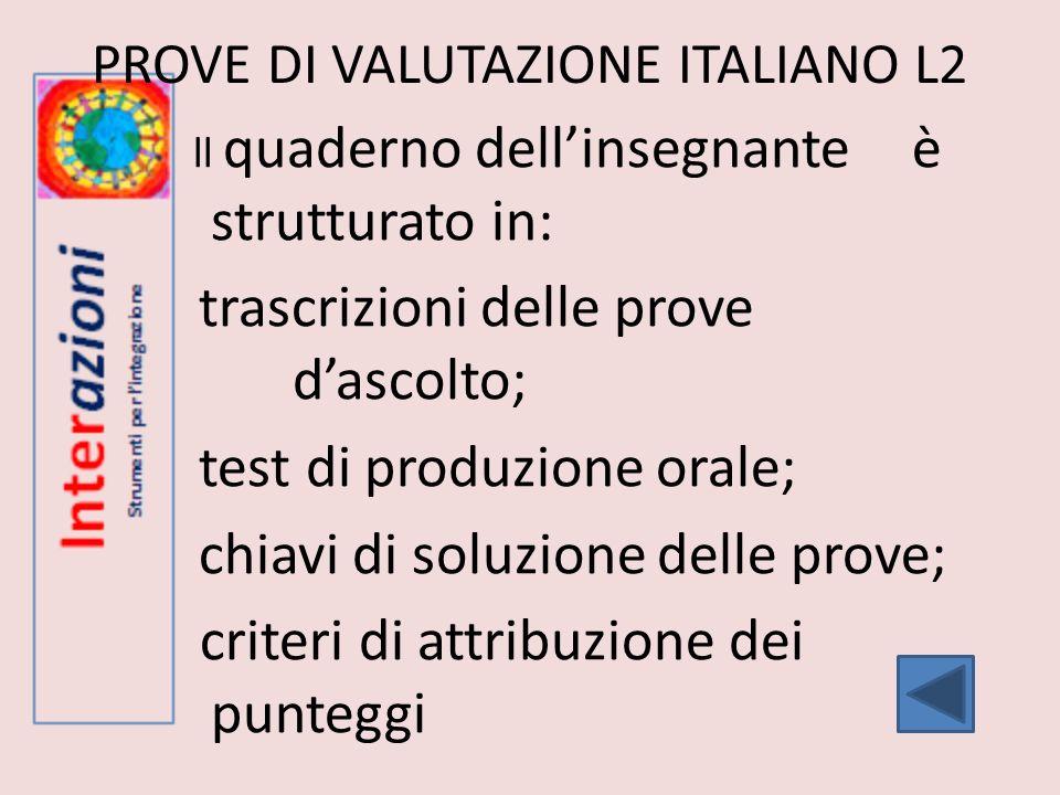 PROVE DI VALUTAZIONE ITALIANO L2