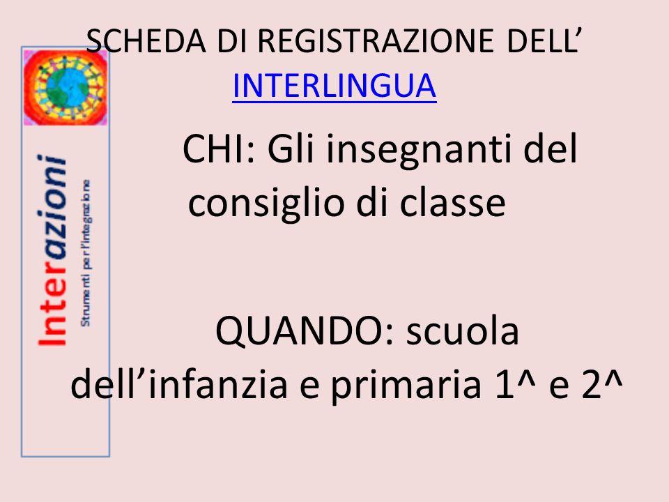 SCHEDA DI REGISTRAZIONE DELL' INTERLINGUA