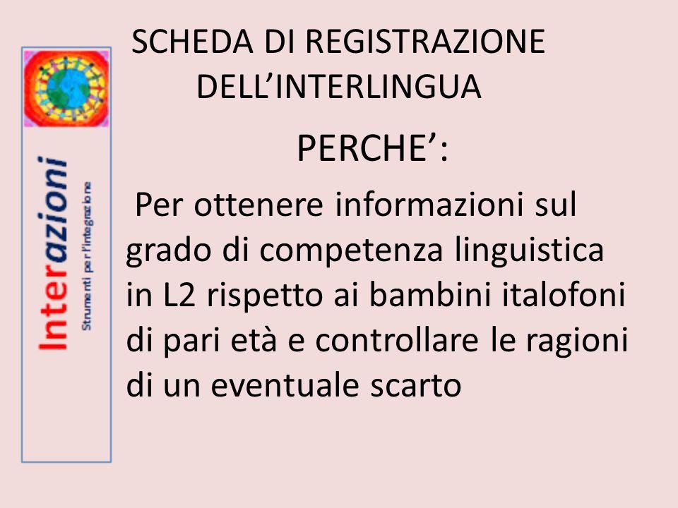 SCHEDA DI REGISTRAZIONE DELL'INTERLINGUA