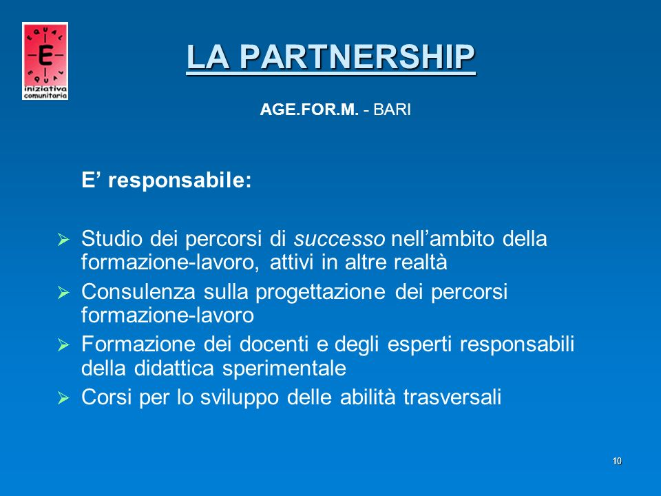 LA PARTNERSHIP AGE.FOR.M. - BARI
