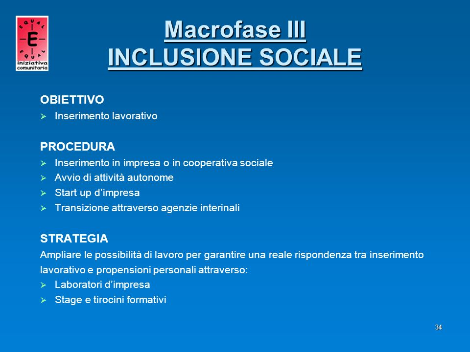Macrofase III INCLUSIONE SOCIALE