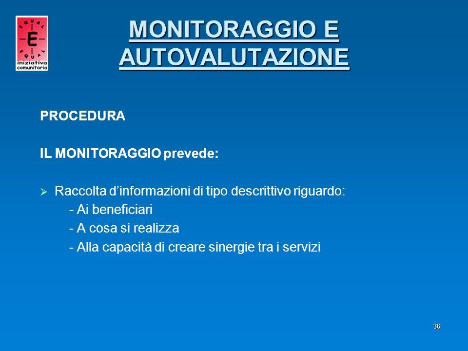 MONITORAGGIO E AUTOVALUTAZIONE