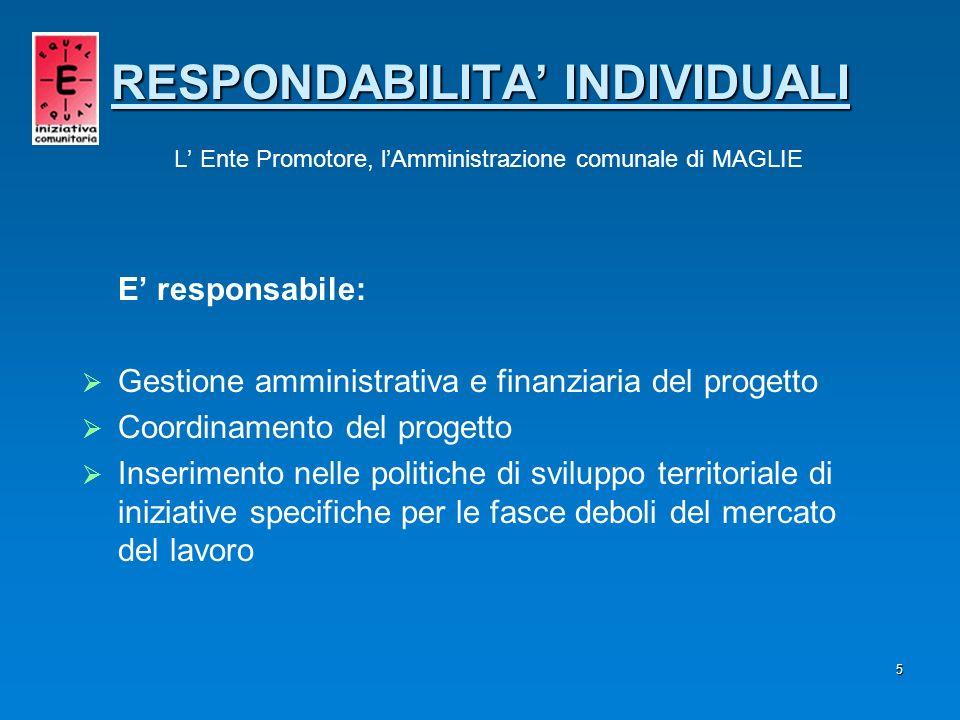 RESPONDABILITA' INDIVIDUALI L' Ente Promotore, l'Amministrazione comunale di MAGLIE