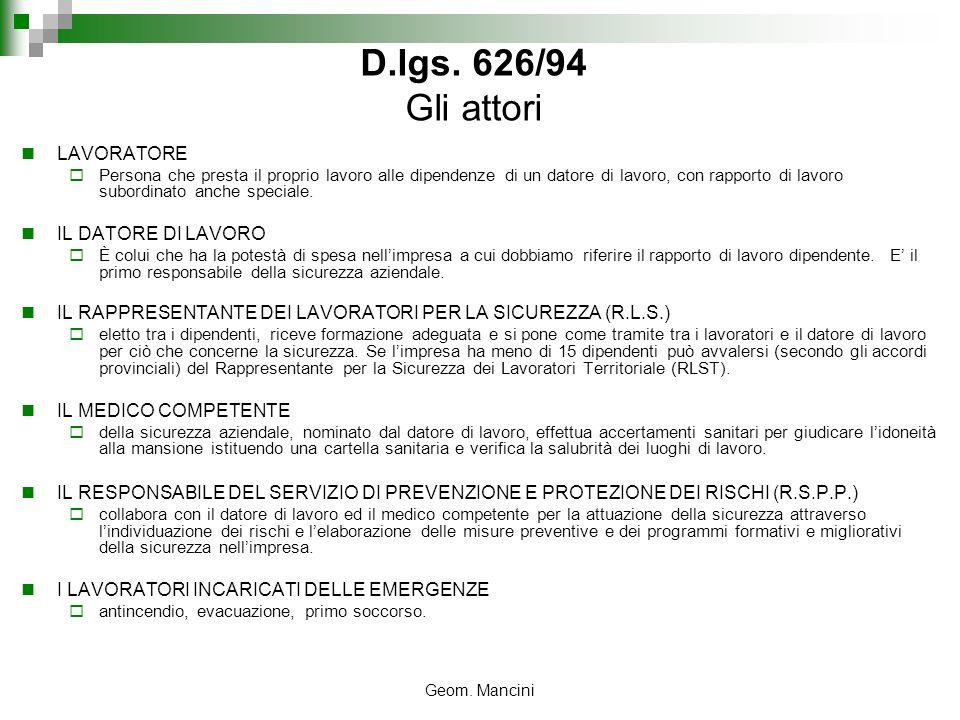 D.lgs. 626/94 Gli attori LAVORATORE IL DATORE DI LAVORO