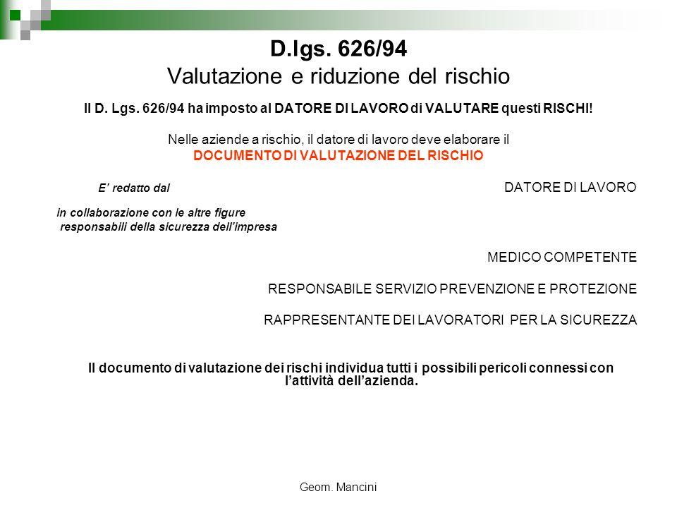 D.lgs. 626/94 Valutazione e riduzione del rischio