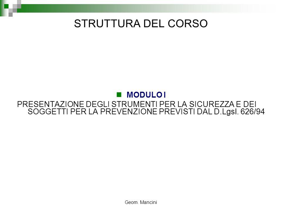 STRUTTURA DEL CORSO MODULO I