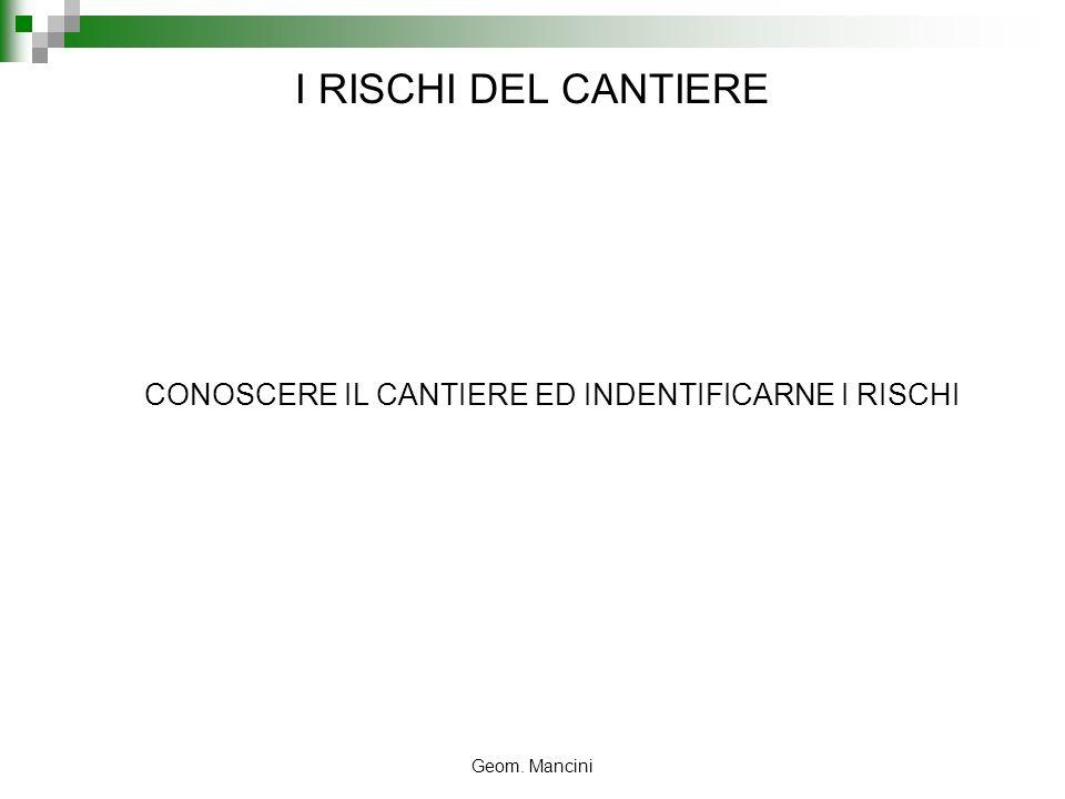 CONOSCERE IL CANTIERE ED INDENTIFICARNE I RISCHI