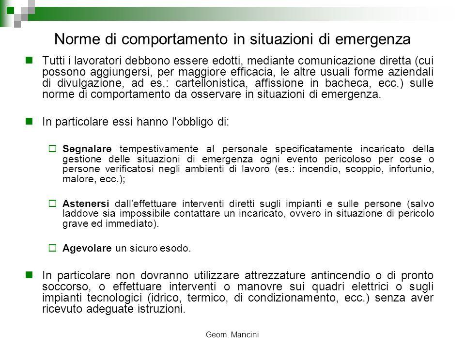 Norme di comportamento in situazioni di emergenza
