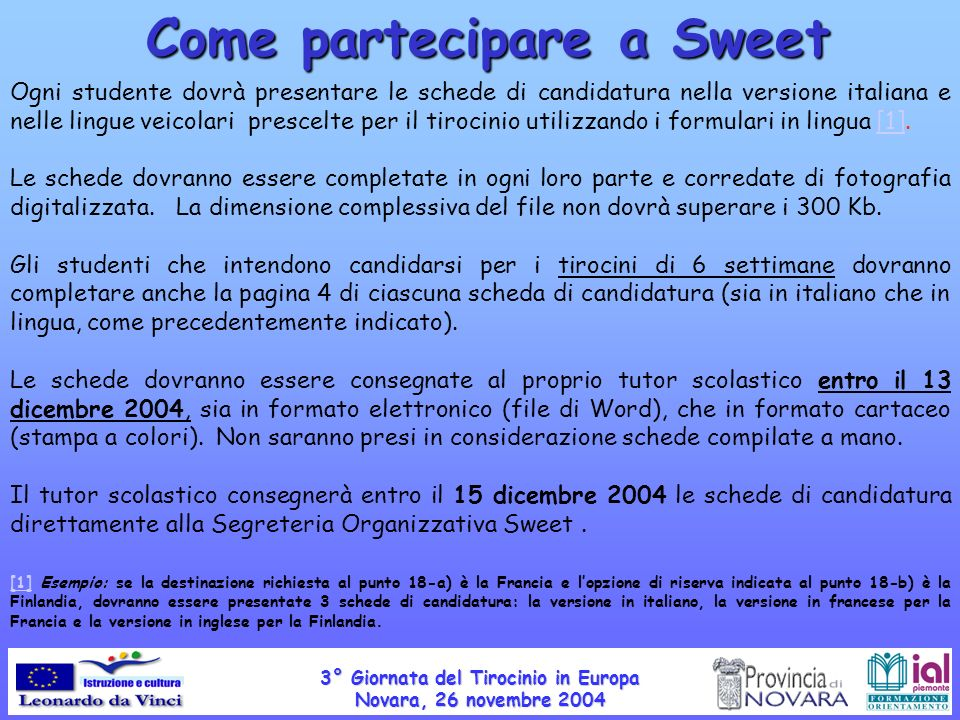 Come partecipare a Sweet