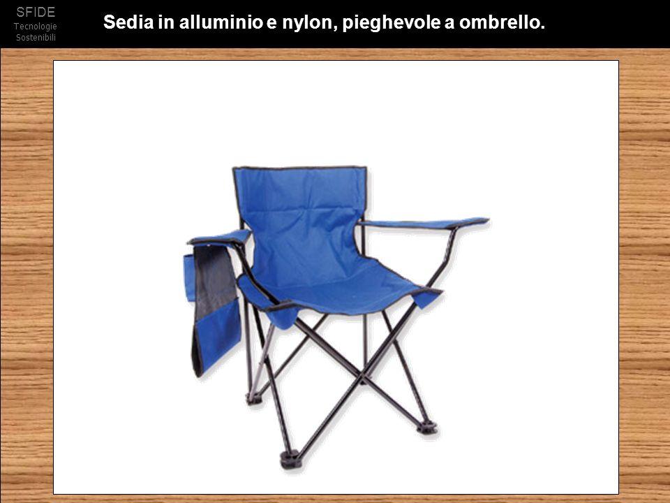 Sedia in alluminio e nylon, pieghevole a ombrello.