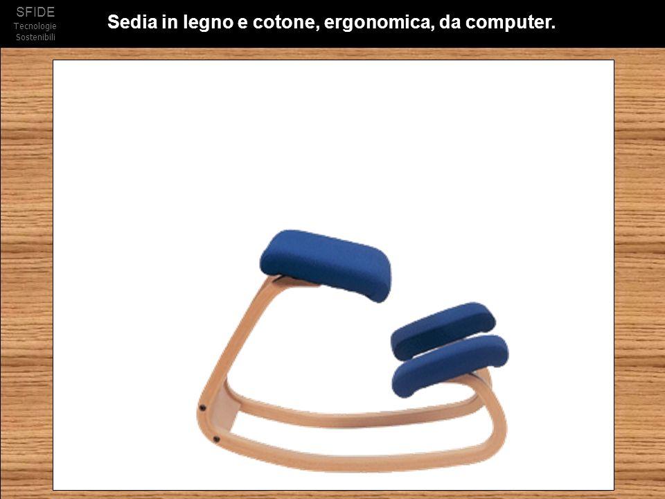 Sedia in legno e cotone, ergonomica, da computer.