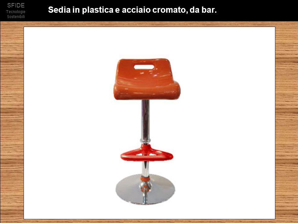 Sedia in plastica e acciaio cromato, da bar.