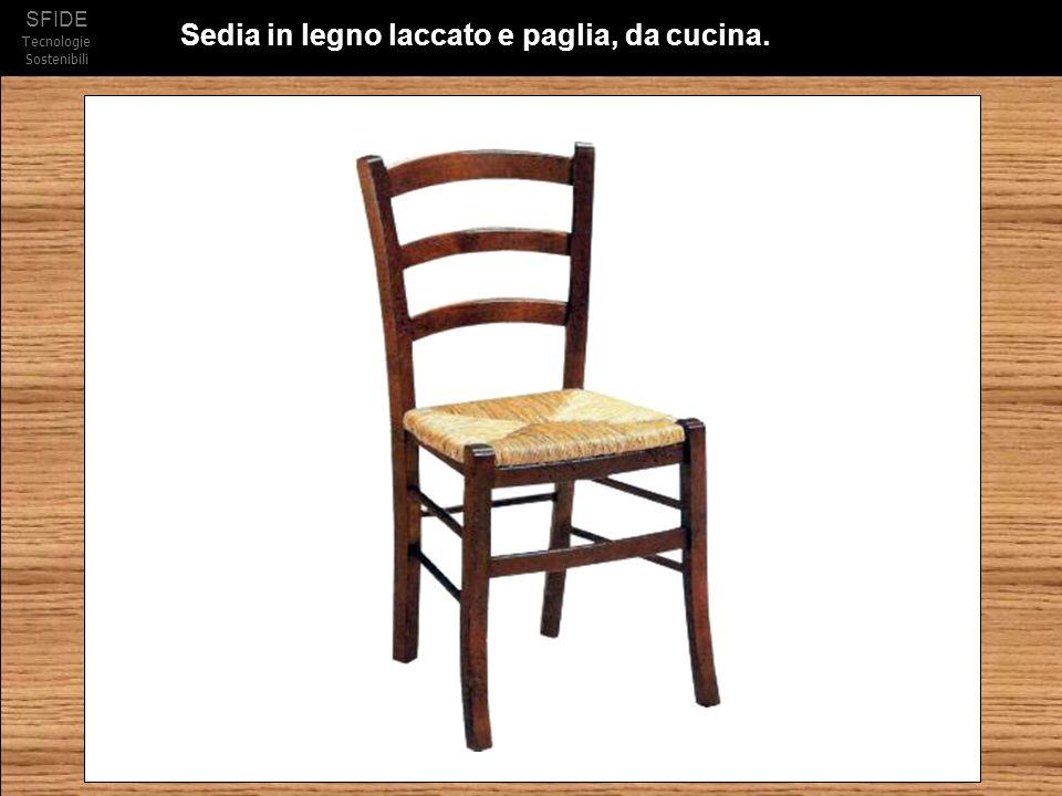 Sedia in legno laccato e paglia, da cucina.