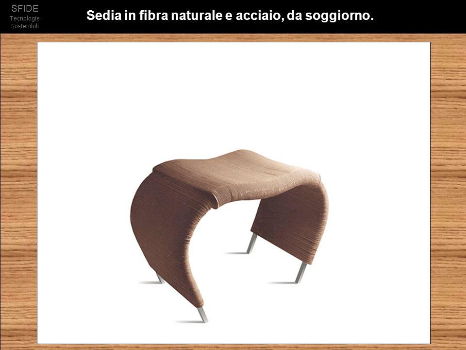 Sedia in fibra naturale e acciaio, da soggiorno.